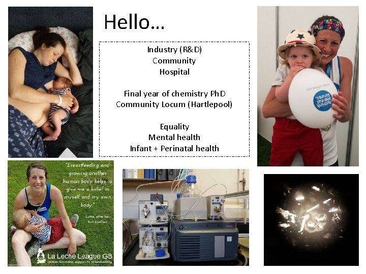 Hello… Industry (R&D) Community Hospital Final year of chemistry Ph. D Community Locum (Hartlepool)