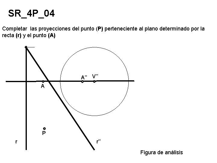 SR_4 P_04 Completar las proyecciones del punto (P) perteneciente al plano determinado por la