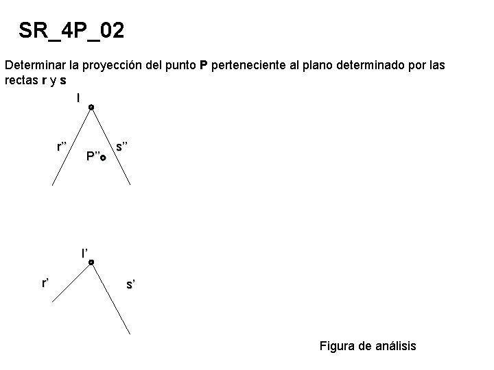 SR_4 P_02 Determinar la proyección del punto P perteneciente al plano determinado por las