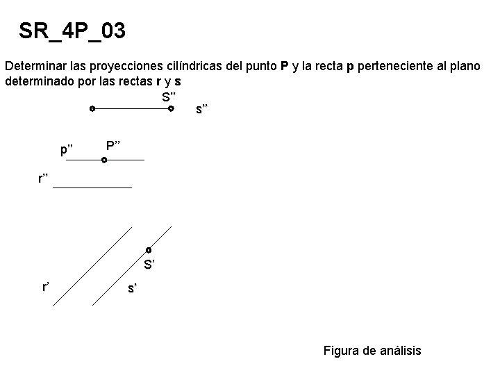 SR_4 P_03 Determinar las proyecciones cilíndricas del punto P y la recta p perteneciente