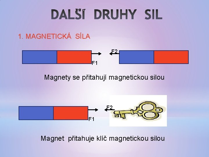 1. MAGNETICKÁ SÍLA F 2 F 1 Magnety se přitahují magnetickou silou F 2