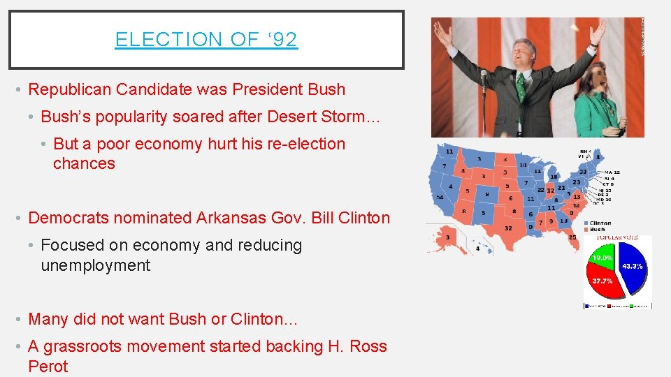 ELECTION OF ' 92 • Republican Candidate was President Bush • Bush's popularity soared