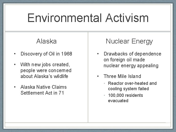 Environmental Activism Alaska • Discovery of Oil in 1968 • With new jobs created,