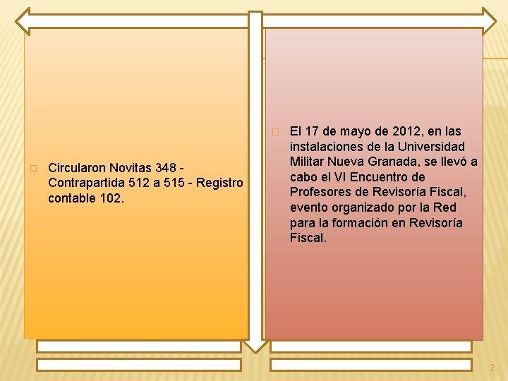 � � Circularon Novitas 348 Contrapartida 512 a 515 - Registro contable 102. El