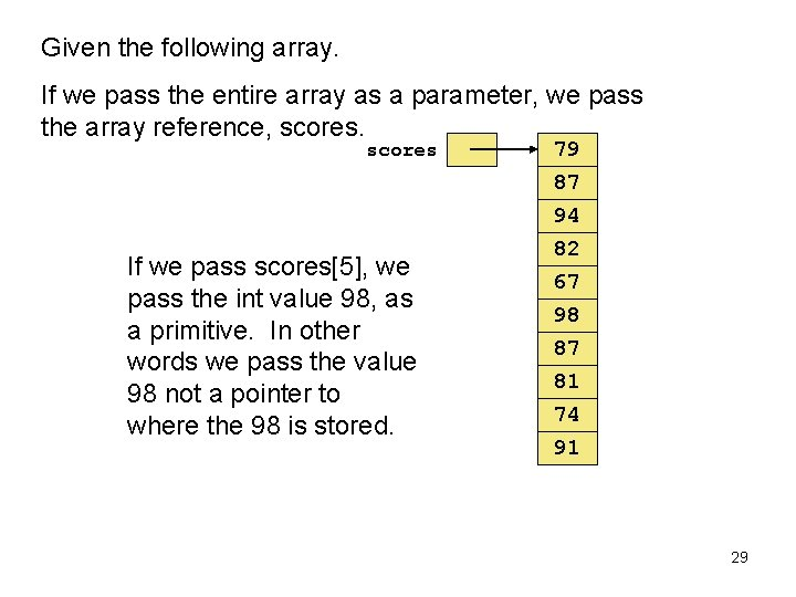 Given the following array. If we pass the entire array as a parameter, we
