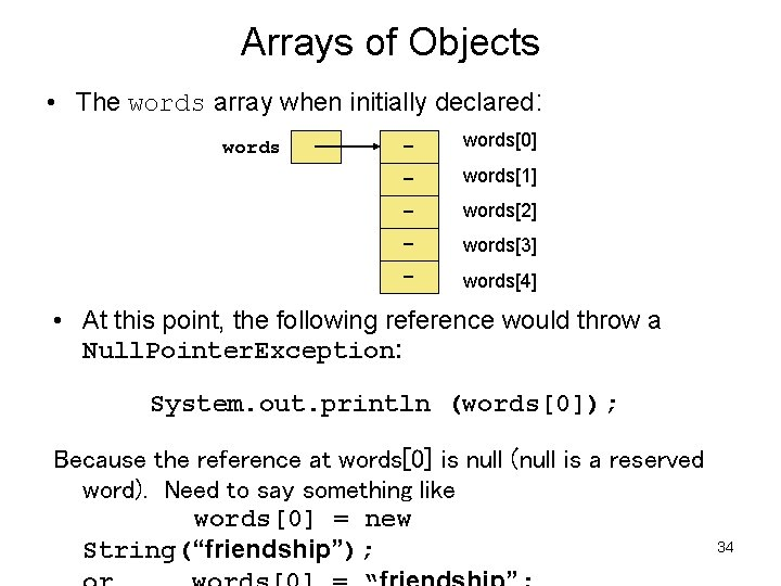 Arrays of Objects • The words array when initially declared: words - words[0] -