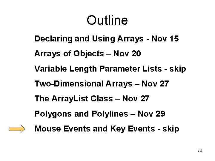 Outline Declaring and Using Arrays - Nov 15 Arrays of Objects – Nov 20