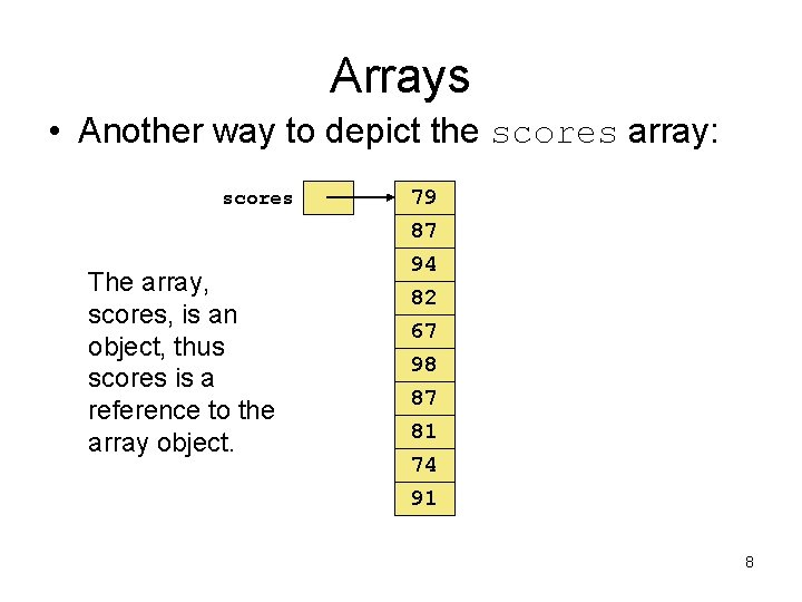 Arrays • Another way to depict the scores array: scores The array, scores, is