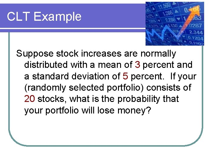 CLT Example Suppose stock increases are normally distributed with a mean of 3 percent