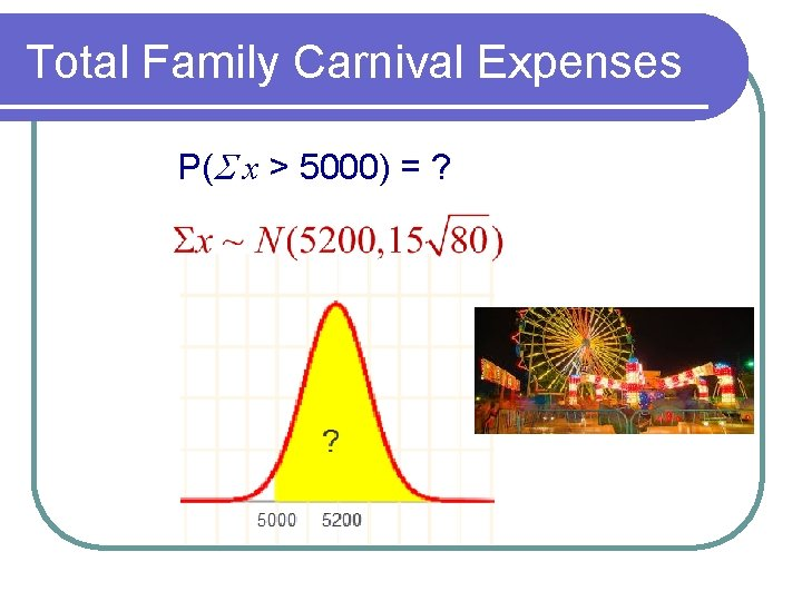 Total Family Carnival Expenses P(S x > 5000) = ?