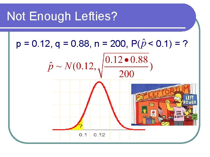 Not Enough Lefties? p = 0. 12, q = 0. 88, n = 200,