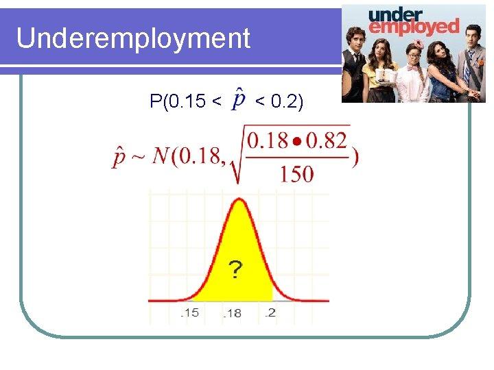 Underemployment P(0. 15 < < 0. 2)