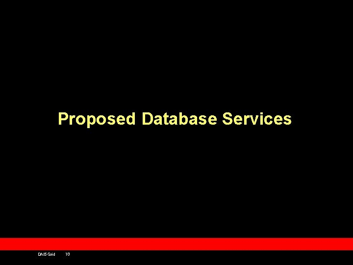 Proposed Database Services DAIS Grid 10