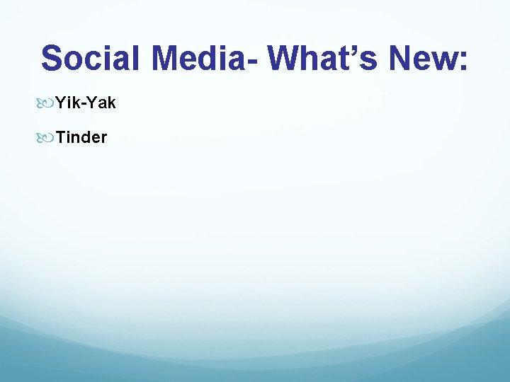 Social Media- What's New: Yik-Yak Tinder
