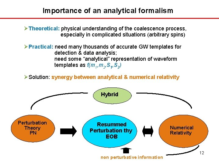 Importance of an analytical formalism Theoretical: physical understanding of the coalescence process, especially in