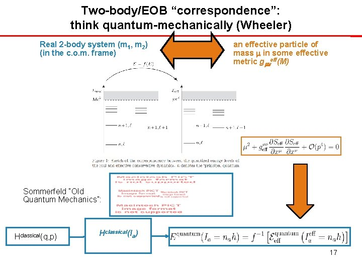 """Two-body/EOB """"correspondence"""": think quantum-mechanically (Wheeler) Real 2 -body system (m 1, m 2) (in"""