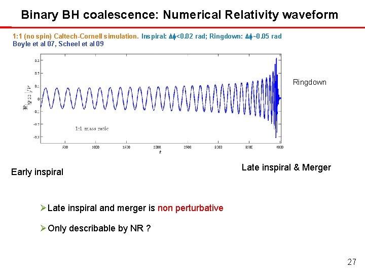 Binary BH coalescence: Numerical Relativity waveform 1: 1 (no spin) Caltech-Cornell simulation. Inspiral: Df<0.