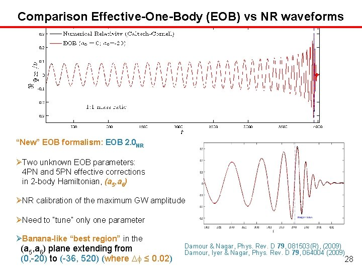 "Comparison Effective-One-Body (EOB) vs NR waveforms ""New"" EOB formalism: EOB 2. 0 NR Two"