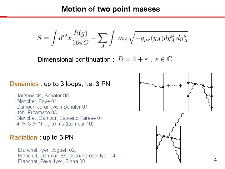Motion of two point masses Dimensional continuation : Dynamics : up to 3 loops,