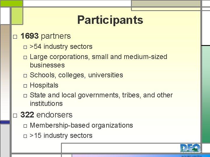 Participants □ 1693 partners □ >54 industry sectors □ Large corporations, small and medium-sized