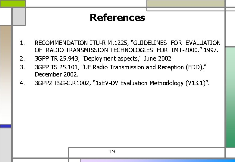 """References 1. 2. 3. 4. RECOMMENDATION ITU-R M. 1225, """"GUIDELINES FOR EVALUATION OF RADIO"""