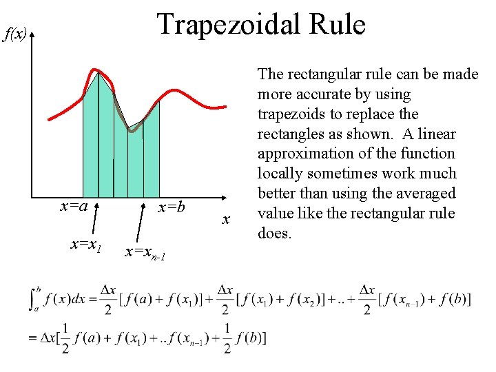 Trapezoidal Rule f(x) x=a x=x 1 x=b x=xn-1 x The rectangular rule can be
