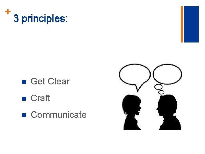 + 3 principles: n Get Clear n Craft n Communicate