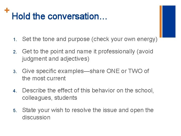 + Hold the conversation… 1. Set the tone and purpose (check your own energy)