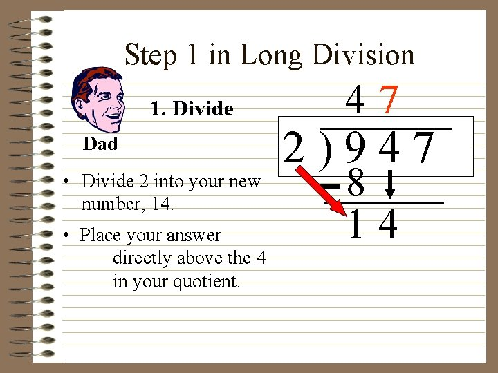 Step 1 in Long Division 1. Divide Dad • Divide 2 into your new