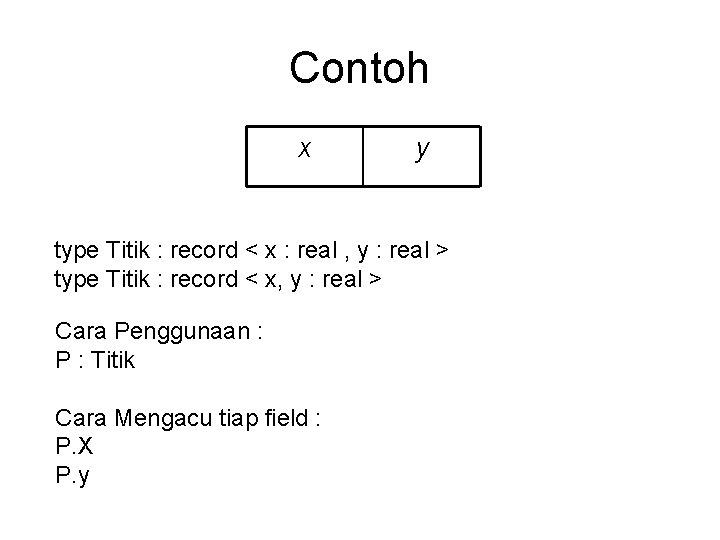 Contoh x y type Titik : record < x : real , y :