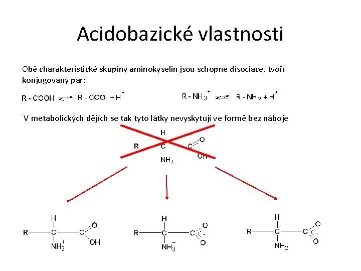 Acidobazické vlastnosti Obě charakteristické skupiny aminokyselin jsou schopné disociace, tvoří konjugovaný pár: V metabolických