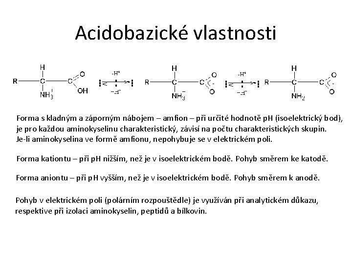 Acidobazické vlastnosti Forma s kladným a záporným nábojem – amfion – při určité hodnotě