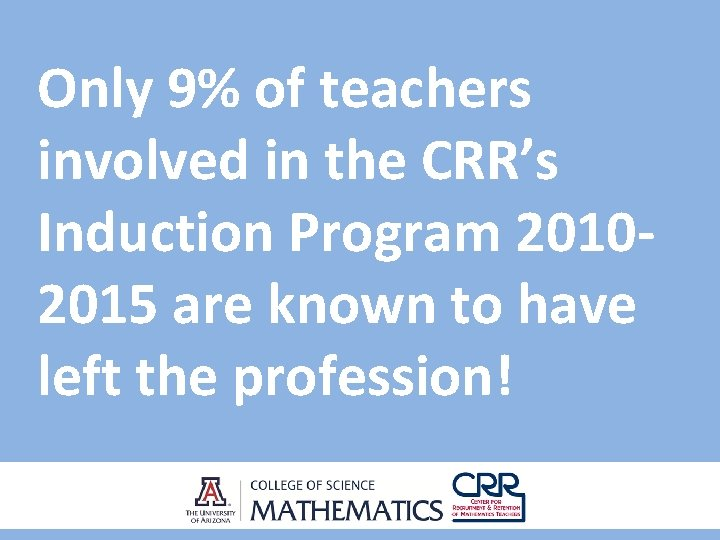 Only 9% of teachers involved in the CRR's Induction Program 20102015 are known to
