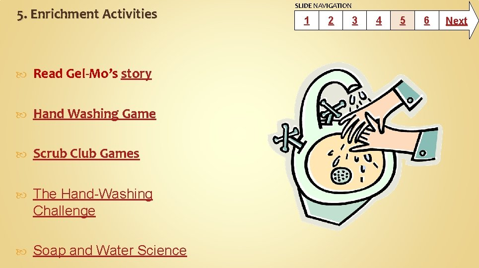 5. Enrichment Activities Read Gel-Mo's story Hand Washing Game Scrub Club Games The Hand-Washing