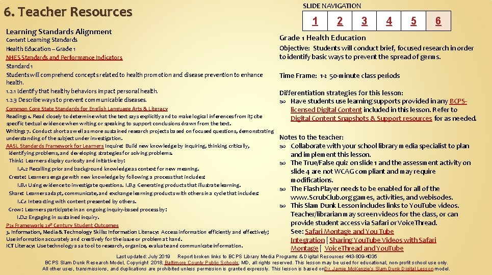6. Teacher Resources Learning Standards Alignment Content Learning Standards Health Education – Grade 1