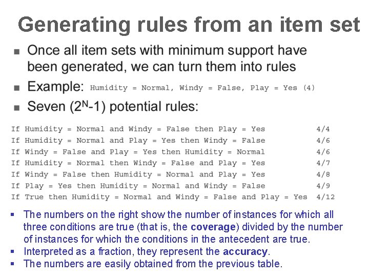 Generating rules from an item set § The numbers on the right show the