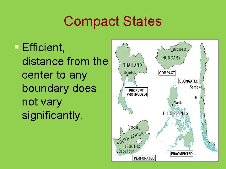Compact States § Efficient, distance from the center to any boundary does not vary