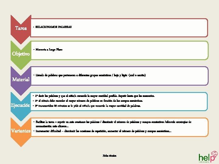 Tarea Objetivo Material Ejecución Variantes • RELACIONAMOS PALABRAS • Memoria a Largo Plazo •