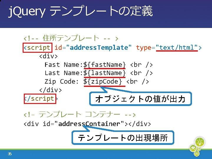 "j. Query テンプレートの定義 <!-- 住所テンプレート -- > <script id=""address. Template"" type=""text/html""> <div> Fast Name:"