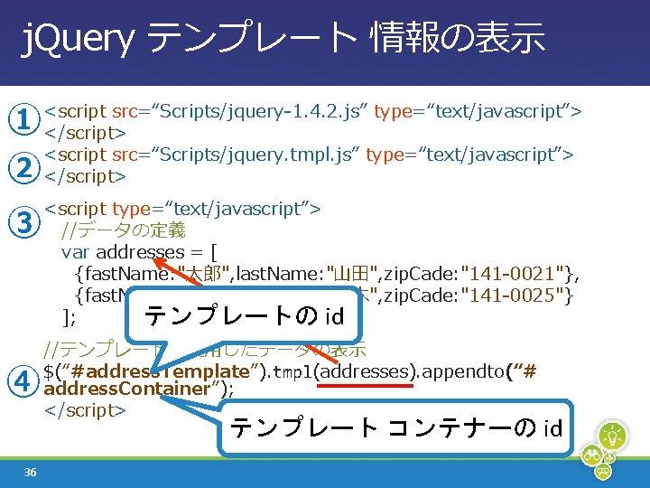 """j. Query テンプレート 情報の表示 ① ② ③ ④ <script src=""""Scripts/jquery-1. 4. 2. js"""" type=""""text/javascript"""">"""