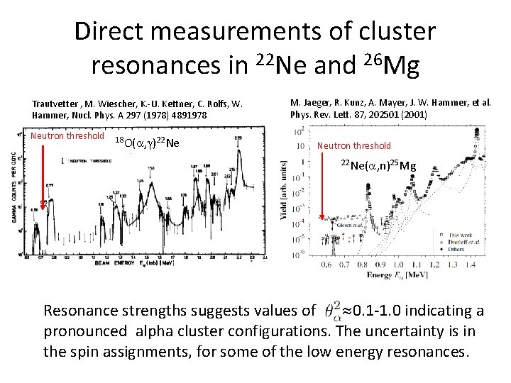 Direct measurements of cluster resonances in 22 Ne and 26 Mg Trautvetter , M.