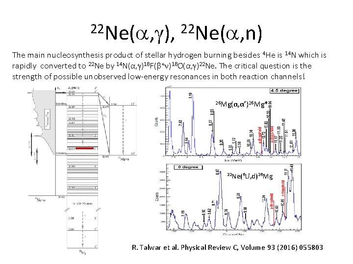 22 Ne( , ), 22 Ne( , n) The main nucleosynthesis product of stellar