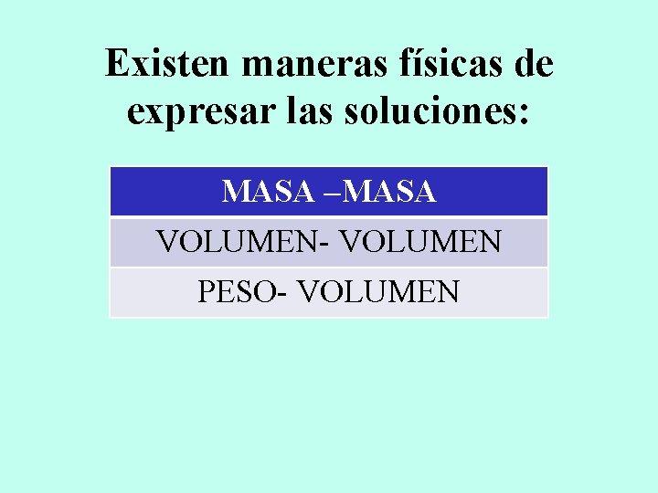 Existen maneras físicas de expresar las soluciones: MASA –MASA VOLUMEN- VOLUMEN PESO- VOLUMEN