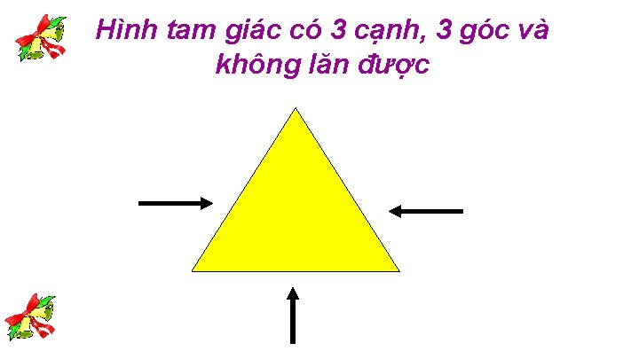 Hình tam giác có 3 cạnh, 3 góc và không lăn được