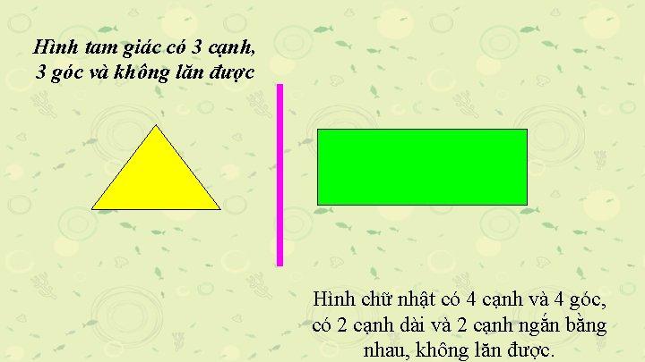 Hình tam giác có 3 cạnh, 3 góc và không lăn được Hình chữ
