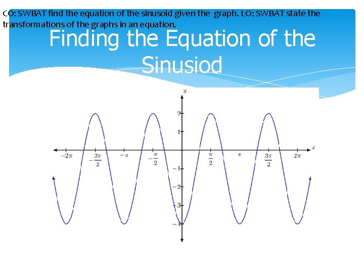 CO: SWBAT find the equation of the sinusoid given the graph. LO: SWBAT state