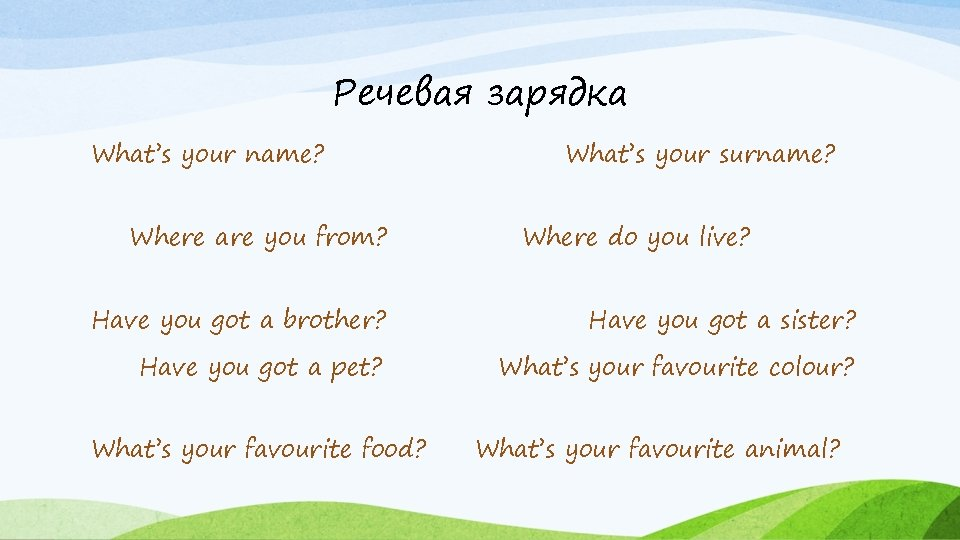 Речевая зарядка What's your name? Where are you from? What's your surname? Where do