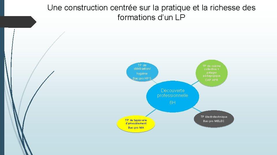 Une construction centrée sur la pratique et la richesse des formations d'un LP TP