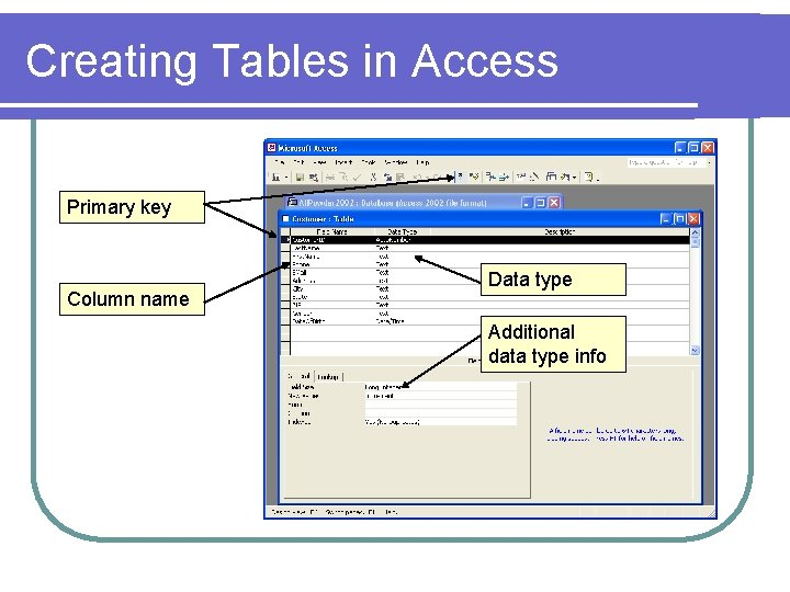 Creating Tables in Access Primary key Column name Data type Additional data type info