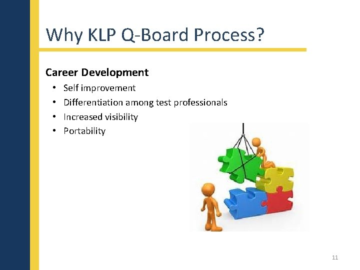 Why KLP Q-Board Process? Career Development • • Self improvement Differentiation among test professionals